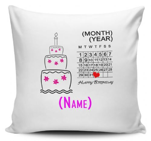 Personalised Birthday Chart (Pink) Cushion Cover